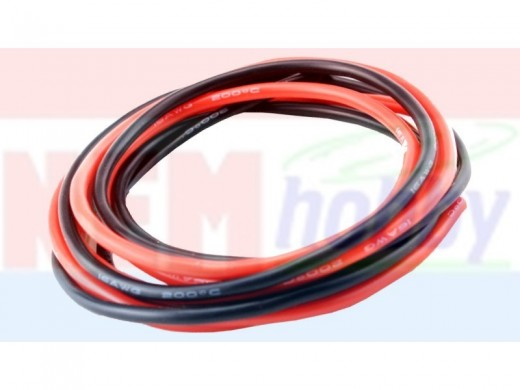 Silicone cables 14AWG x2mtr. -1Black+1Red