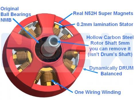 NEM Brushless Motor 2205-2300KV -N52H magnets -Hollow saft