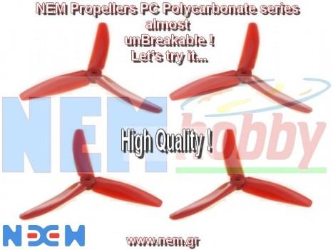 3Blade 5040 NEM PC Unbreakable Props 2 Pair/4pcs -Red