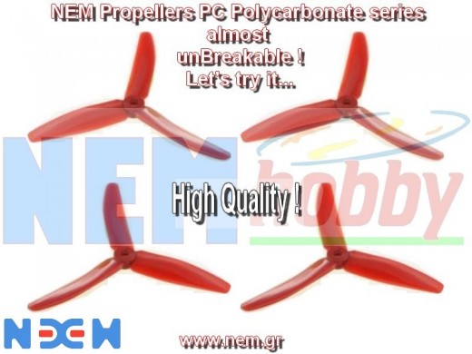 3Blade 5040 NEM PC Unbreakable Props 2 Pair/4pcs -Red