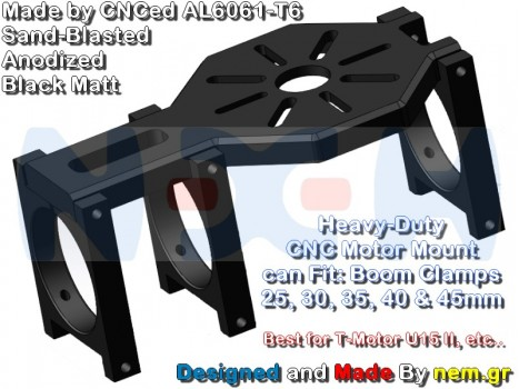 CNC Heavy Duty Motor Mount Plate for U8, U15 II etc. -Black Anodized