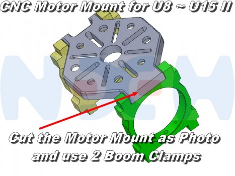 CNC Heavy Duty Motor Mount set with 3 boom clamps, choose 25, 30, 35, 40 or 45mm diameter)