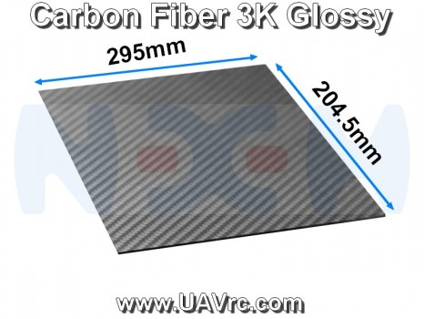 Carbon Fiber 295x204.5 x2mm 3K Plate Panel Sheet, Plain Weave, Glossy Surface