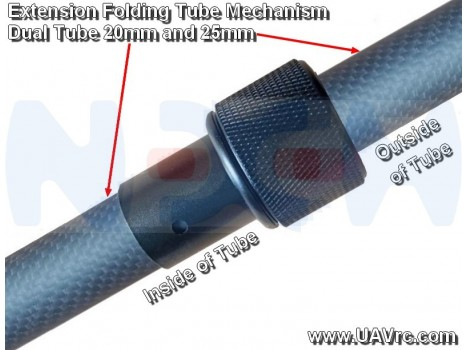 Folding Mechanism for Round Tubes 20/25mm -Black Matte Anodized