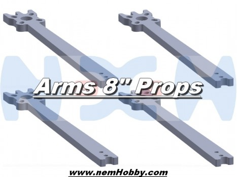 "8"" Prop Carbon Motor Arm 5mm thickness x4pcs -D305mm"