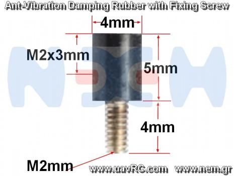 M2x5mm Rubber Anti Vibration Damping Fixing Screws x4 pcs