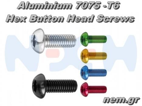 Aluminum 7075 Hex Socket Button Head Screws M3x14mm x10pcs -Black