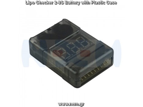 Lipo Checker 2~8s Battery, Dual Buzzer with Plastic Case