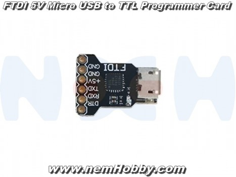 FTDI 5V Micro USB to TTL Programmer Card, Upload Tool